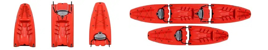 Kayak modulable rojo secciones